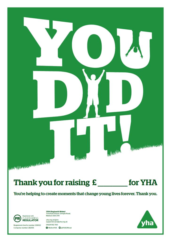 YHA Fundraising Certificate